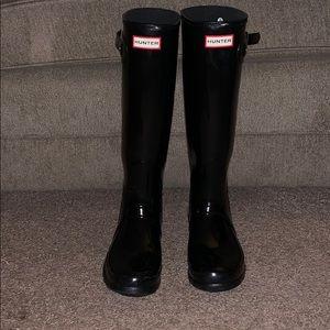 Women's Shiny Black Tall Hunter Rain Boots Size 9